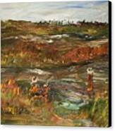 Fishing In The Backwoods Canvas Print by Edward Wolverton