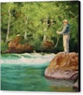 Fishing The Umpqua Canvas Print by Nancy Jolley