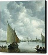Fishingboat In An Estuary Canvas Print by Jan Josephsz van Goyen