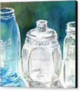Five Jars In Window Canvas Print by Sukey Watson