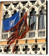 Flags On Palazzo In Venice Canvas Print