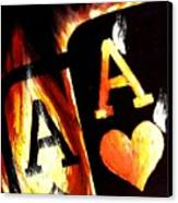 Flaming Bullets Pocket Aces Poker Art Canvas Print