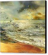 Flight Of The Seagulls Canvas Print by Anne Weirich