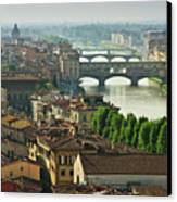Florence. View Of Ponte Vecchio Over River Arno. Canvas Print