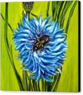 Flower And Bee Oil Painting Canvas Print by Natalja Picugina