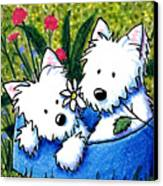 Flower Bed Westies Canvas Print