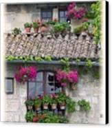 Flower Pots In Windows In Arles Canvas Print by Carson Ganci