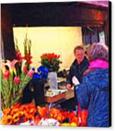 Flower Stand On Stockton And Geary Street . Photoart Canvas Print by Wingsdomain Art and Photography