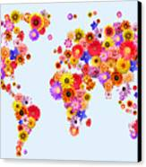 Flower World Map Canvas Print by Michael Tompsett