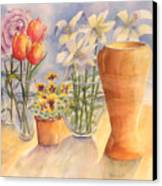 Flowers And Terra Cotta Canvas Print