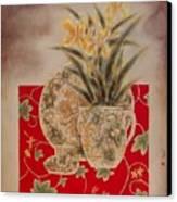 Flowers In Vase-nightngales  Canvas Print