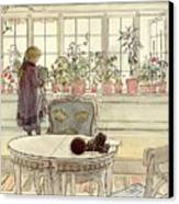 Flowers On The Windowsill Canvas Print by Carl Larsson