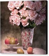 Flowers With Fruit Still Life Canvas Print