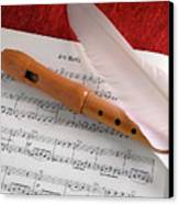 Flute And Feather Canvas Print by Carlos Caetano