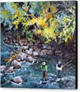 Fly Fishing Canvas Print by Linda Shackelford