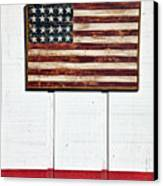 Folk Art American Flag On Wooden Wall Canvas Print by Garry Gay