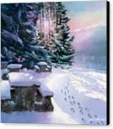 Foot Prints On Snow-port Moody Canvas Print