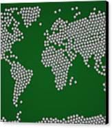 Football Soccer Balls World Map Canvas Print by Michael Tompsett