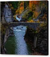 Footbridge At Lower Falls Canvas Print by Rick Berk