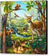 Forest Animals Canvas Print by Anne Wertheim