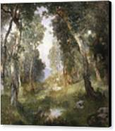 Forest Glade Canvas Print by Thomas Moran