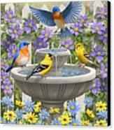 Fountain Festivities - Birds And Birdbath Painting Canvas Print