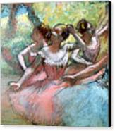 Four Ballerinas On The Stage Canvas Print by Edgar Degas
