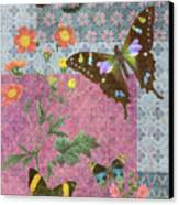 Four Butterfly Patch Blue Canvas Print