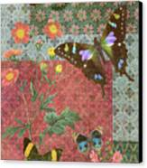 Four Butterfly Patch Green Canvas Print