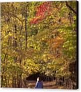 Four Year Old Boy And His Mom Walk Hand Canvas Print