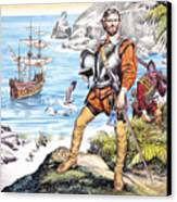 Francis Drake And The Golden Hind Canvas Print by Ron Embleton