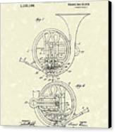 French Horn Musical Instrument 1914 Patent Canvas Print