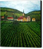 French Village In The Vineyards Canvas Print