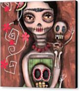 Frida Day Of The Dead Canvas Print