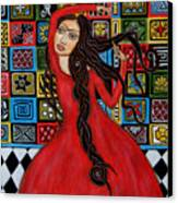 Frida Kahlo Flamenco Dancing  Canvas Print by Rain Ririn