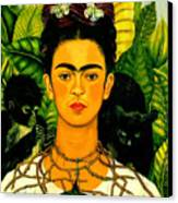 Frida Kahlo Self Portrait With Thorn Necklace And Hummingbird Canvas Print