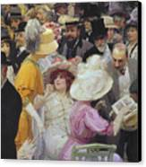 Friday At The French Artists Salon Canvas Print by Jules Alexandre Grun