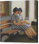 Friends Seated In Bench Canvas Print by Leonor Thornton