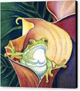 Frog In Gold Calla Lily Canvas Print by Lyse Anthony