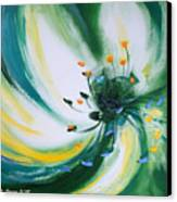 From The Heart Of A Flower Green Canvas Print