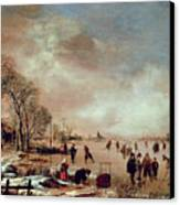 Frozen Canal Scene  Canvas Print by Aert van der Neer