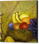 Fruitbowl And Candle Canvas Print