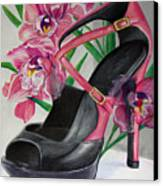 Fuchsia Orchid Colour Block Canvas Print by Karon Melillo DeVega