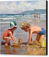 Fun At The Beach Canvas Print by Roelof Rossouw