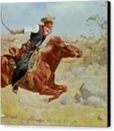 Galloping Horseman Canvas Print by Frederic Remington