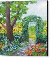 Garden With Sunflowers Canvas Print