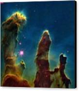 Gas Pillars In The Eagle Nebula Canvas Print by Nasaesastscij.hester & P.scowen, Asu