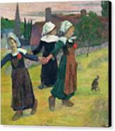 Gauguin: Breton Girls, 1888 Canvas Print