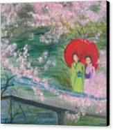 Geishas And Cherry Blossom Canvas Print