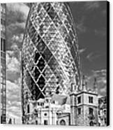 Gherkin And St Andrew's Black And White Canvas Print